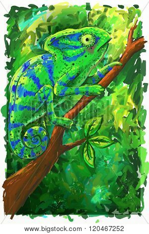 Green Chameleon In The Forest Illustration