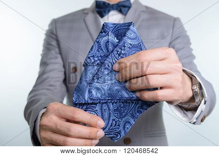 Grey Suit Plaid Texture, Bowtie, Pocket Square
