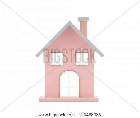 Small wooden toy house isolated on white with clipping path