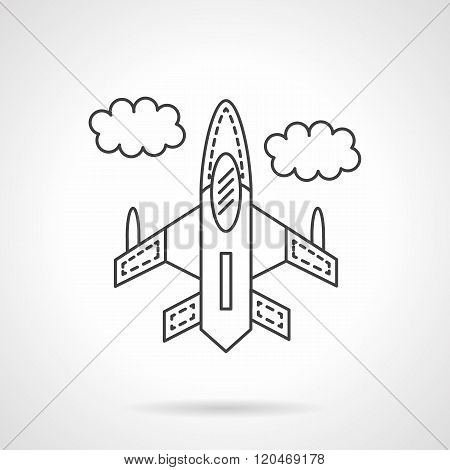 Flying jet flat line design vector icon