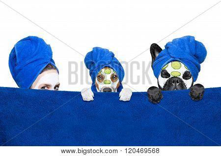 Wellness Beauty Mask Girl And Dogs
