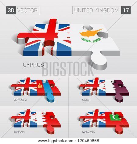 United Kingdom Flag. 3d vector puzzle. Set 17.