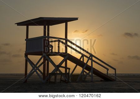 Lifeguard tower at Cartagena Colombia Beach