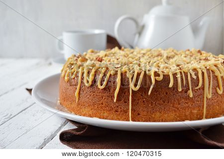 Cake With Caramel, Condensed Milk And Hazelnuts