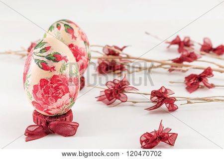 Decoupage Easter Eggs And Small Ribbons