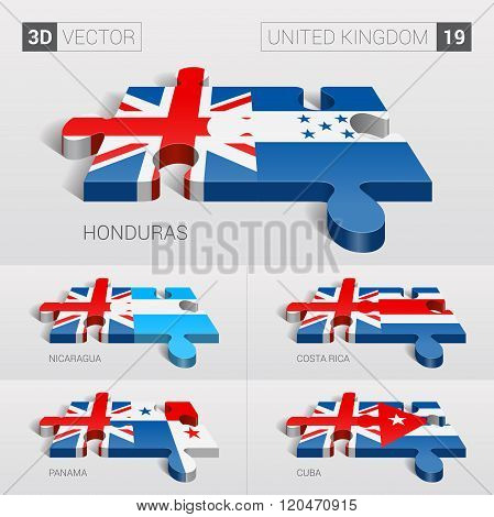 United Kingdom Flag. 3d vector puzzle. Set 19.