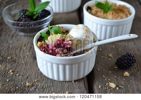 Blackberry Crumble With Oatmeal And Almonds, Rustic Style