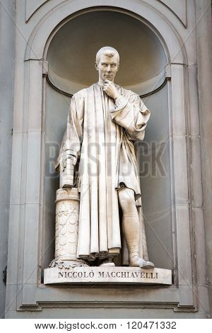 Statue Of Niccolo Machiavelli In Florence, Italy