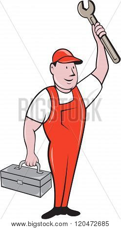 Mechanic Raising Wrench Holding Toolbox Cartoon