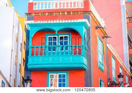 Spanish house with beautiful balcony on canarian islands in Spain