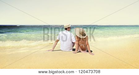 Honeymoon Couple Summer Beach Dating Concept