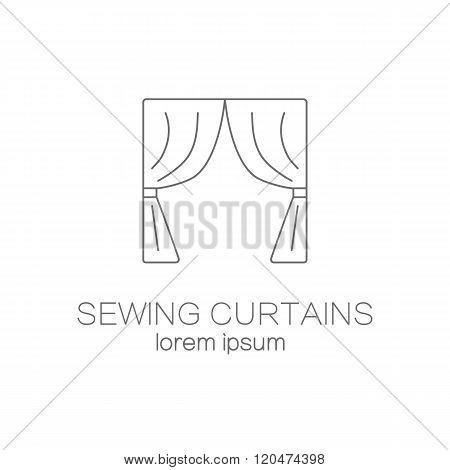 Sawing curtains shop logo design templates.