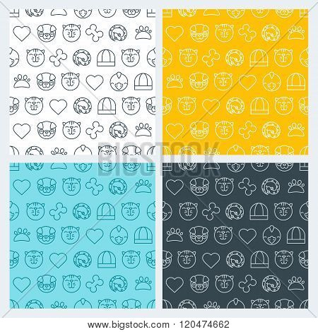 Set Of Vector Seamless Pattern With Linear Pets Icons.