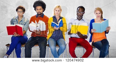Group of People Reading Concentrate Determine Education Concept