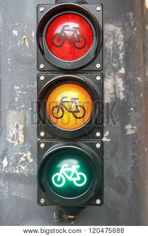 Traffic Light With Bike Sign For Cyclists Close Up