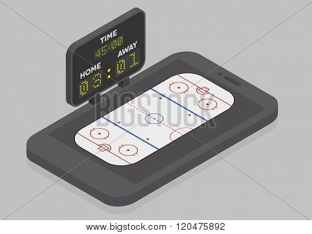 minimalistic illustration of a mobile phone in isometric view with Icehockey field, online watching concept, eps10 vector