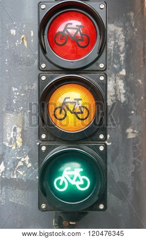All Three Lights As A Traffic Sign In The City.