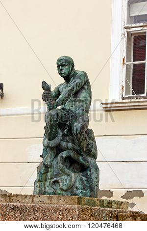Fisherman with Snake statue and fountain at Jezuitski Square in Zagreb Croatia