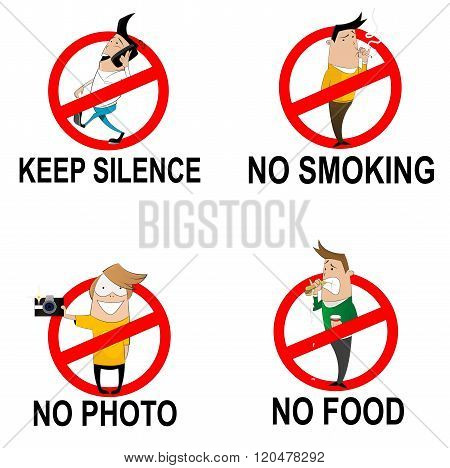 Prohibitory Signs In Cartoon Style