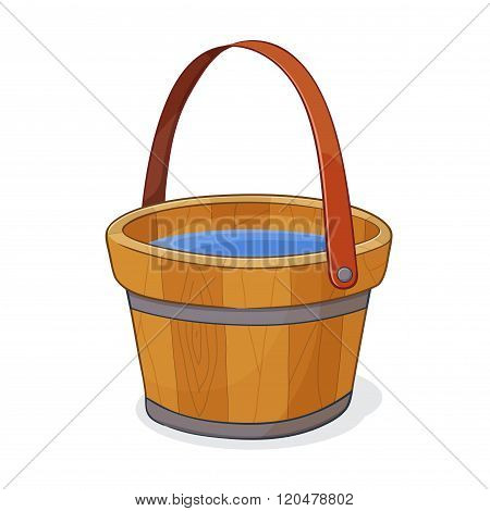 Wooden Bucket Filled With Water
