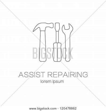 Assist repairing service logotype design templates.