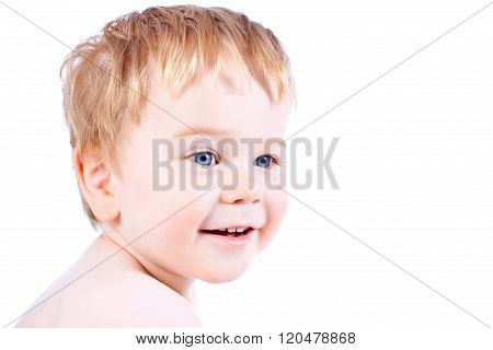 Toddler Blond And Blue Eyes Boy