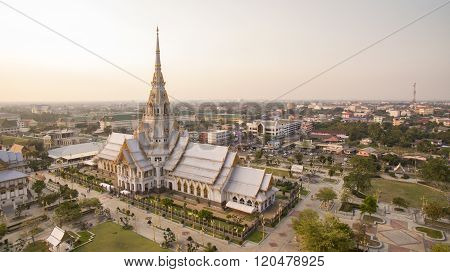 Aerial View Of Wat Sothorn Templein Chachengsao Province Eastern Of Thailand Important Buddhist Reli