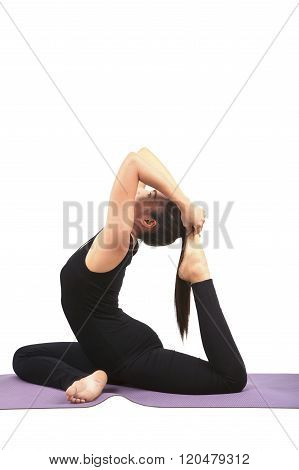 Portrait Of Asian Woman Wearing Black Body Suit Sitting In Yoga Meditation Position Isolated White B