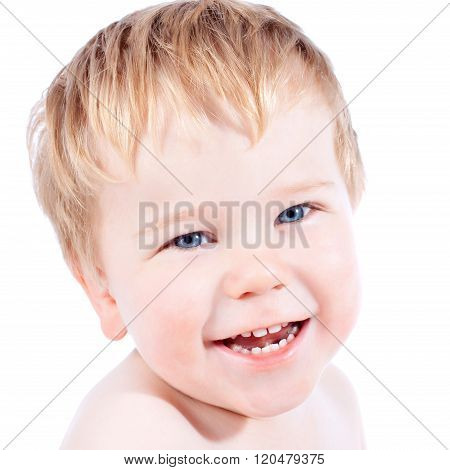 Toddler Blond And Blue Eyes Boy Child With Various Facial Expressions
