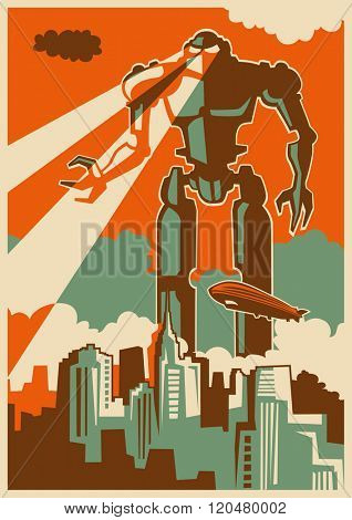 Retro illustration with giant robot. Vector illustration.