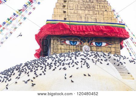 Boudhanath Stupa, One Of The Largest Spherical Stupas In Nepal