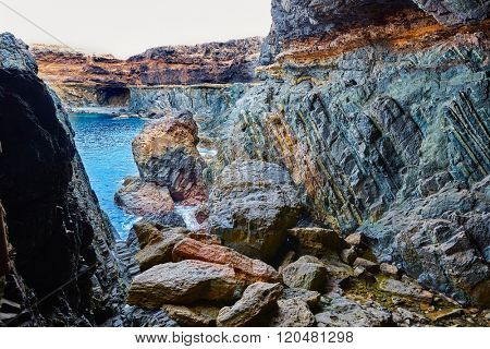 Ajuy Caleta Negra beach in Fuerteventura at Canary Islands of Spain