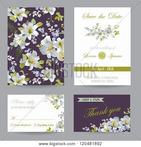 Save the Date - Wedding Invitation or Congratulation Card Set - Flower Lily Theme - in vector