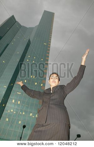 Low angle portrait of businesswoman