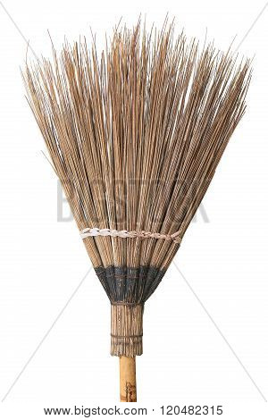 broom for cleaning on dirty floor, cleaning set in house or work place, old broom isolate on white background.