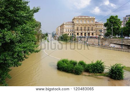 Overflowed Danube At Budapest Academy