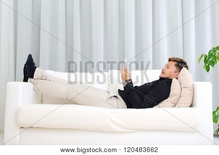 Asian Man Using Handphone