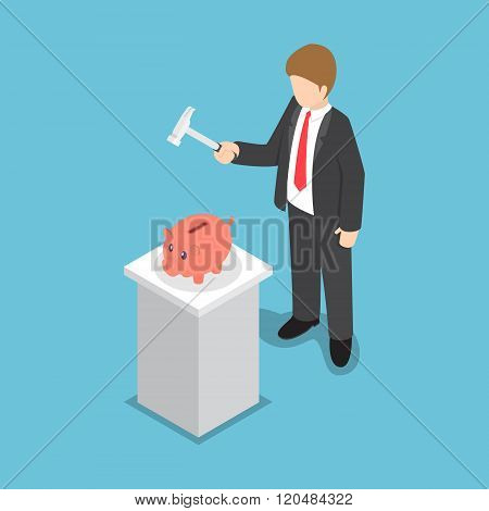 Isometric Businessman With Hammer In His Hand Ready To Smash The Piggy Bank