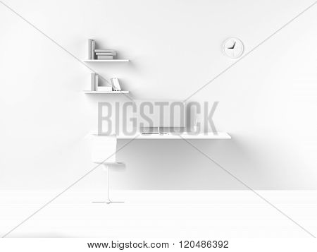 3D Rendering Of Modern White Interior Work Space Home Office In Morning. Including Clock Show Nine O
