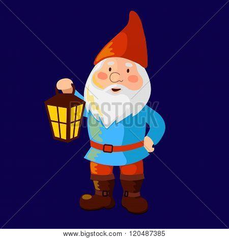 A garden gnome holding a lantern