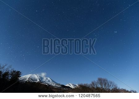 Star cluster with snow mountain