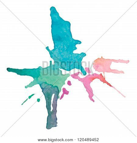 expressive watercolor stain with splashes of pink blue green color