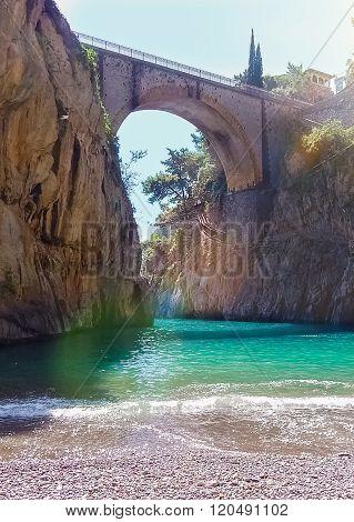 The bridge over the bay, Fiordo di Furore, Italy
