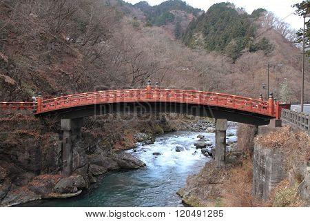 The sacred bridge (Shinkyo bridge) in Nikko Tochigi Japan