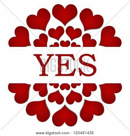 Yes Red Hearts Circular