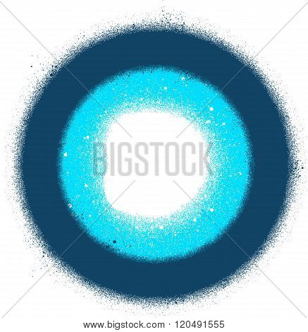 abstract sprayed graffiti radial sign in blue over white