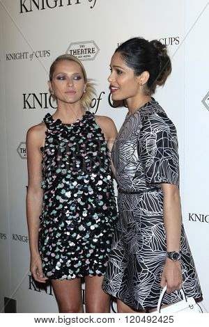 LOS ANGELES - MAR 1:  Teresa Palmer, Freida Pinto at the Knight of Cups Premiere at the The Theatre at The ACE Hotel on March 1, 2016 in Los Angeles, CA