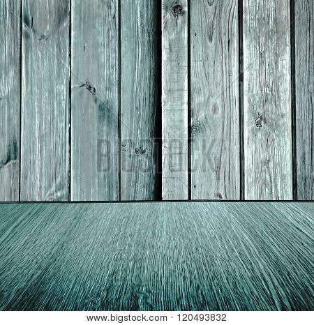 Rustic, wooden, pastel background design, pale turquoise wood backdrop wood floor with diminishing perspective / blur / motion effect - square composition.