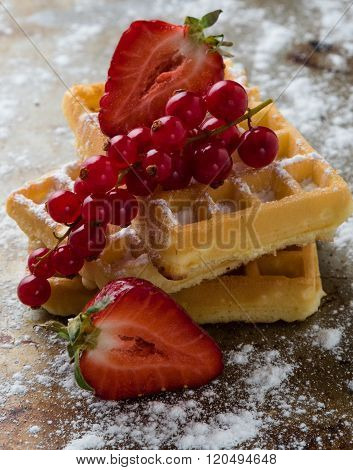 Waffle With Fruits On Steel Plate