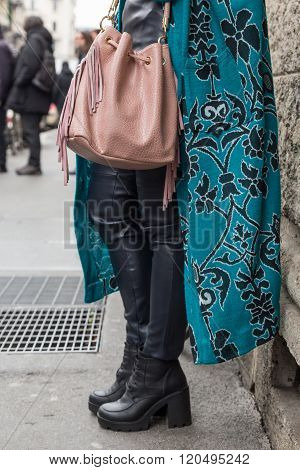 Detail Of Shoes And Bag Outside Sportmax Fashion Show During Milan Women's Fashion Week